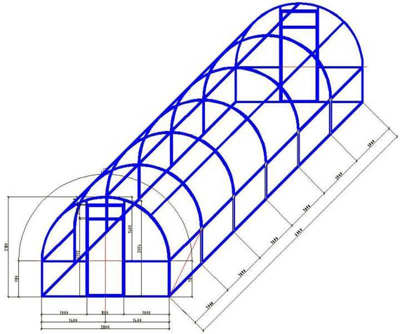 Схема для создания теплицы из поликарбоната