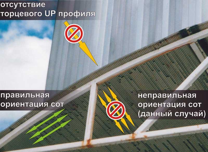 Размещение листов сотового поликарбоната