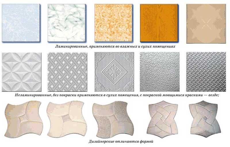 Виды потолочной плитки из пенополистирола