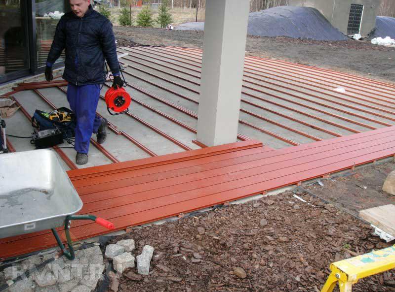 Монтаж древесно-полимерного композита
