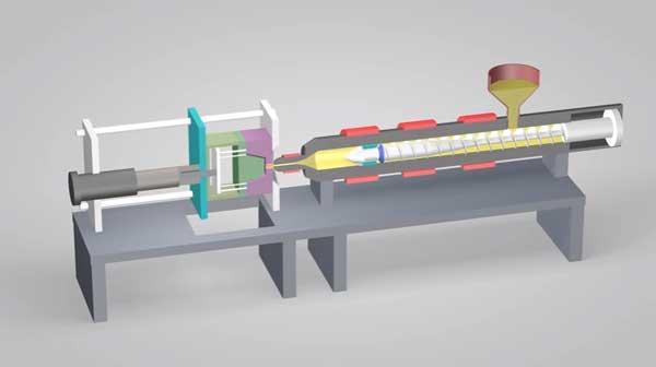 Схема станка для литья пластмасс под давлением